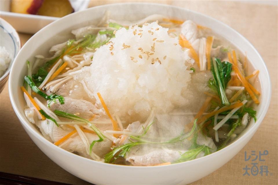 しゃきしゃき野菜の豚しゃぶみぞれスープ