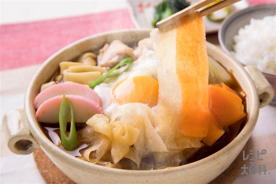 驚き!大根麺入りみそ煮込みきしめん(ゆできしめん+大根を使ったレシピ)