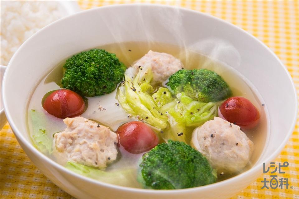 白菜とふんわりだんごのおかずスープ(白菜+鶏ひき肉を使ったレシピ)