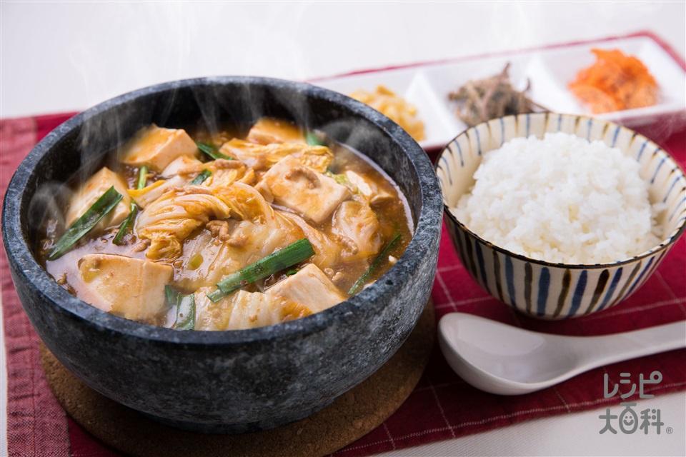 とろ~り麻婆白菜スープ(白菜+絹ごし豆腐を使ったレシピ)