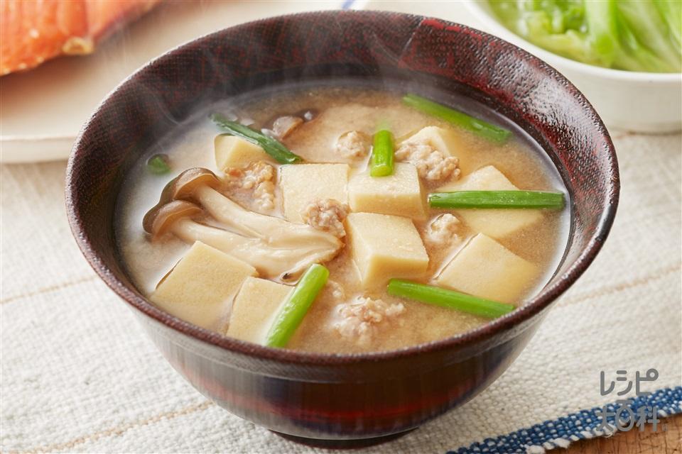 だししみ高野豆腐ときのこのみそ汁(鶏ひき肉+しめじを使ったレシピ)