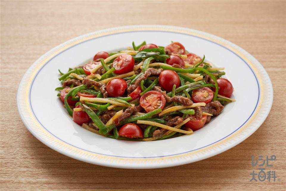 プチトマトモリモリ青椒肉絲(牛もも薄切り肉+たけのこの水煮を使ったレシピ)