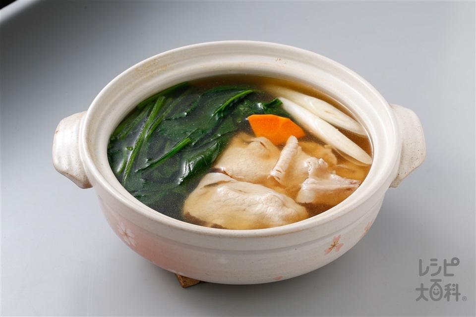 ほうれん草の常夜鍋(ほうれん草+豚ロース薄切り肉を使ったレシピ)