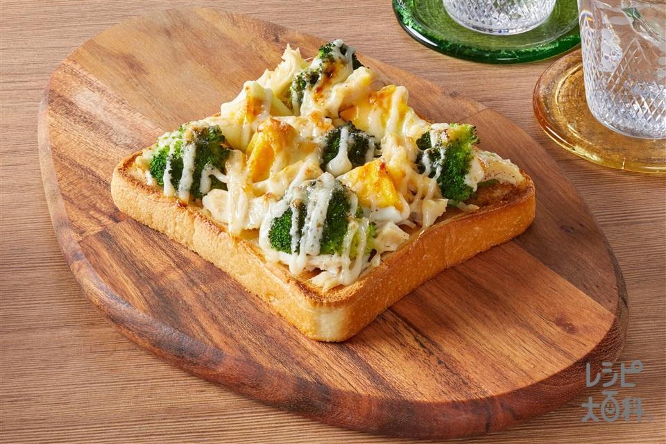 ごろごろブロッコリーとチーズのベジマヨトースト(食パン6枚切りを使ったレシピ)