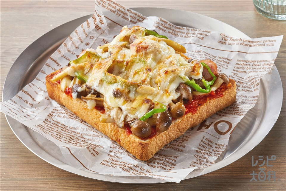 きのこのピザ風マヨトースト