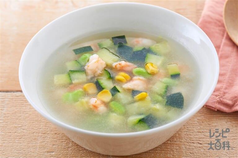 夏野菜の彩りスープ