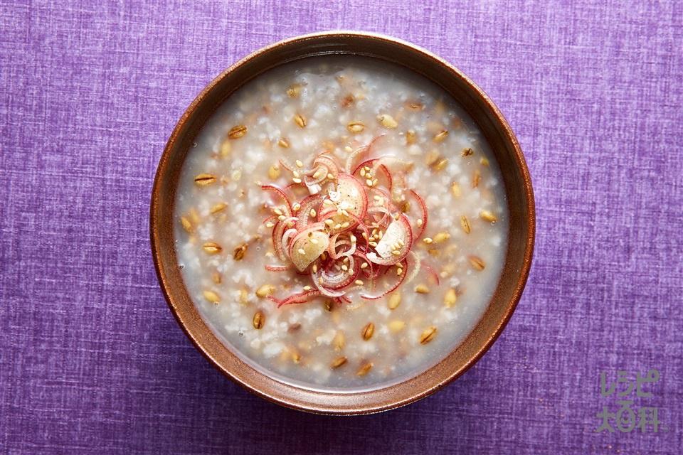 スーパー大麦がゆ みょうが香る♪(「味の素KKおかゆ」スーパー大麦がゆ 鶏とホタテのだし仕立て+みょうがを使ったレシピ)