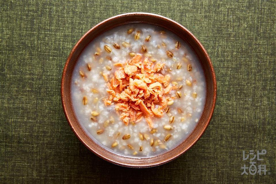 スーパー大麦がゆ 鮭フレーク(さけフレーク+を使ったレシピ)