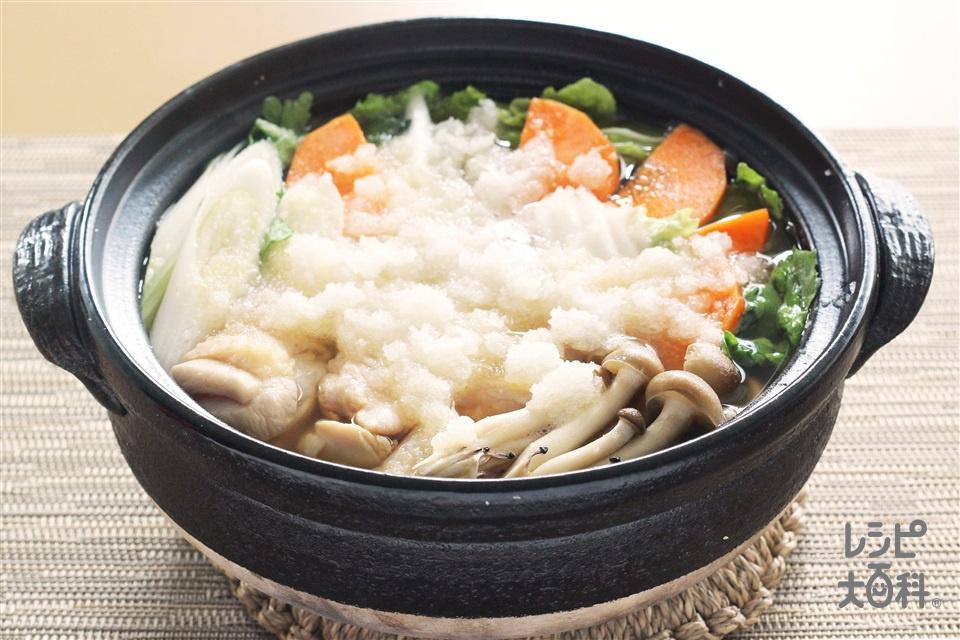 野菜だしのみぞれ鍋(大根+鶏もも肉を使ったレシピ)