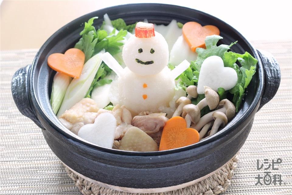 野菜だしのみぞれ鍋~雪だるまver~(大根+鶏もも肉を使ったレシピ)
