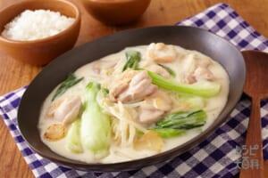 鶏肉と青梗菜・もやしのクリーム煮