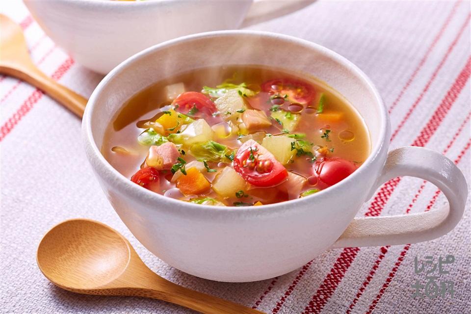 野菜だしのミネストローネ(ベーコンブロック+玉ねぎを使ったレシピ)