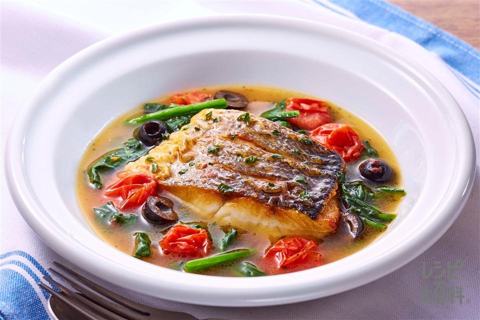 野菜だしアクアパッツァ(白身魚+ミニトマトを使ったレシピ)