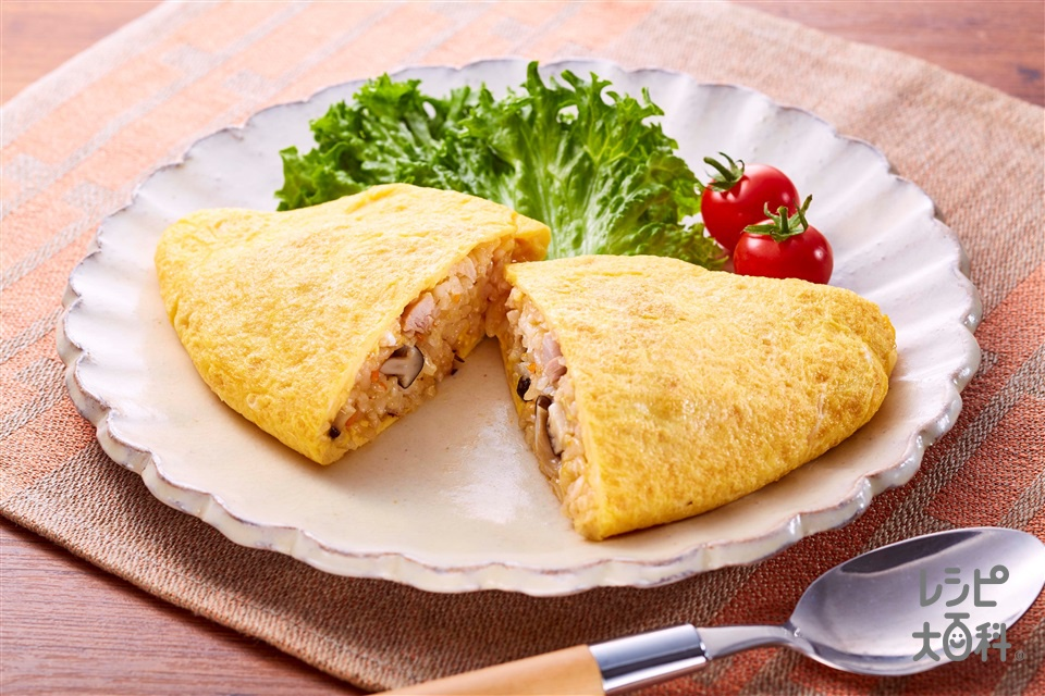 野菜だしオムライス(米+卵を使ったレシピ)