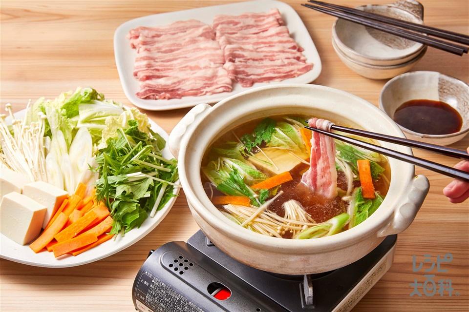 野菜だし豚しゃぶ(豚しゃぶしゃぶ用肉+白菜を使ったレシピ)