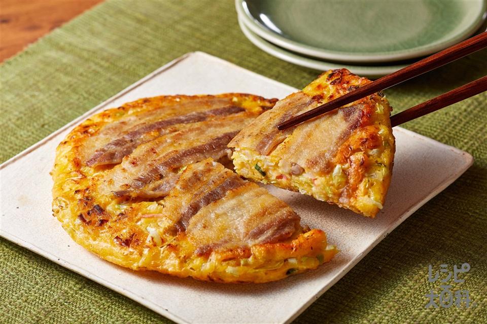 お好み焼きトムヤム味(豚バラ薄切り肉+キャベツを使ったレシピ)