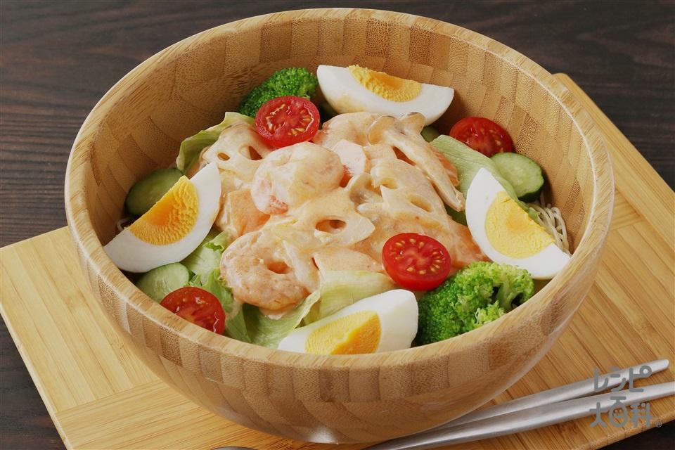 エビチリマヨのサラダパスタ(カッペリーニ+卵を使ったレシピ)