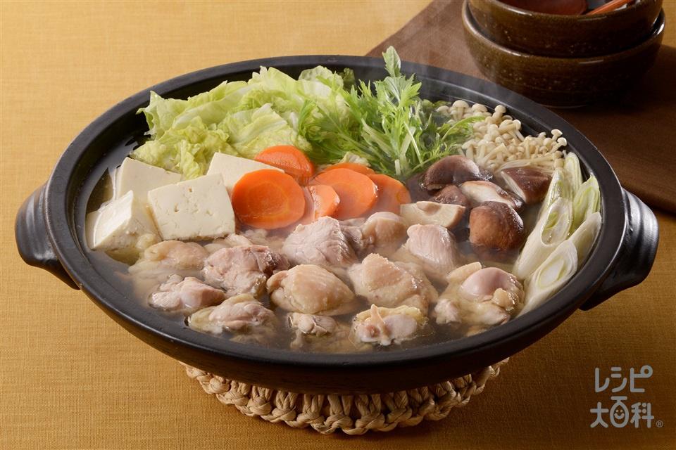 あごだし寄せ鍋(鶏もも肉+木綿豆腐を使ったレシピ)