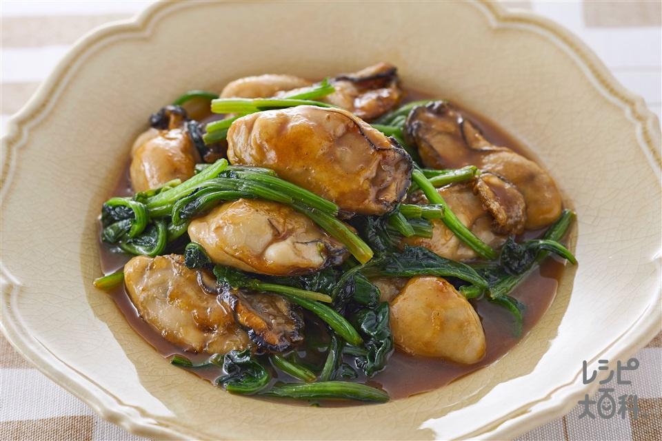 カキとほうれん草のオイバタソテー(かき(むき身)+ほうれん草を使ったレシピ)