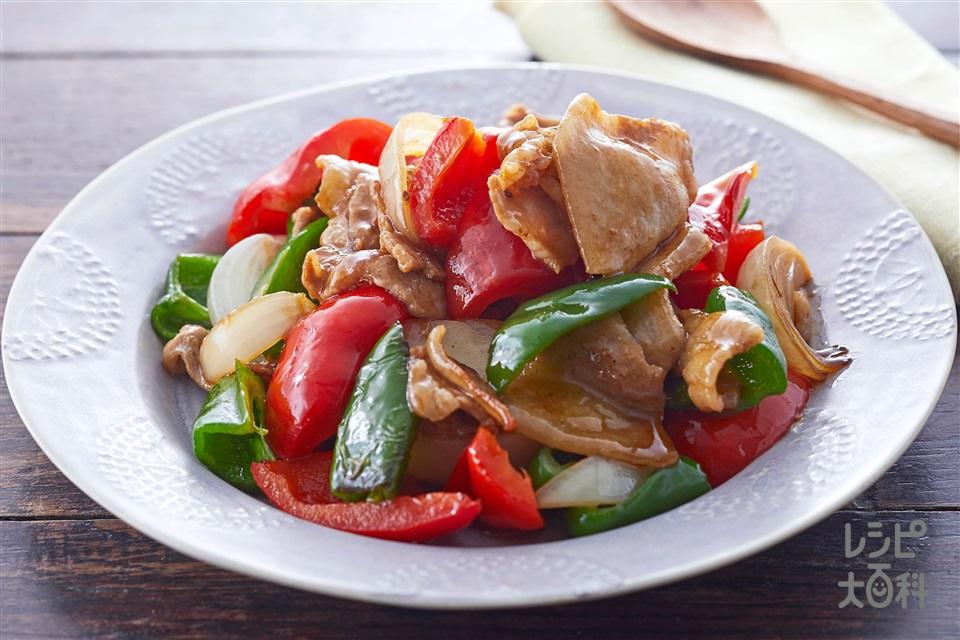 豚肉とピーマンのオイバタ炒め(豚バラ薄切り肉+パプリカ(赤)を使ったレシピ)