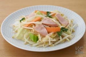 秒速 野菜炒め風(袋入りカット野菜(五目野菜炒めミックス)+薄切りハムを使ったレシピ)