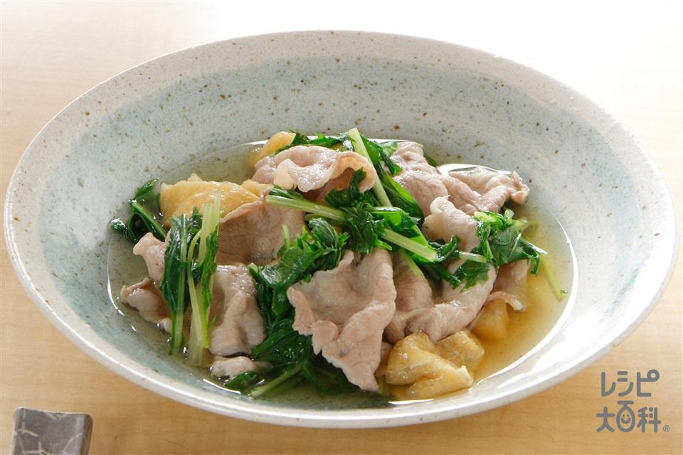 豚肉と水菜のさっと煮(豚肩ロースしゃぶしゃぶ用肉+水菜を使ったレシピ)