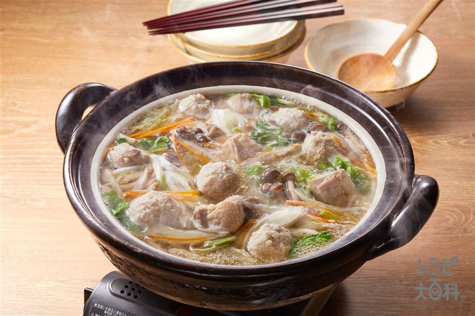 あごだしつくね鍋(鶏ひき肉+Aねぎのみじん切りを使ったレシピ)