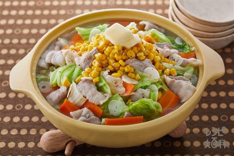 たっぷり野菜のうま塩にんにくバター鍋