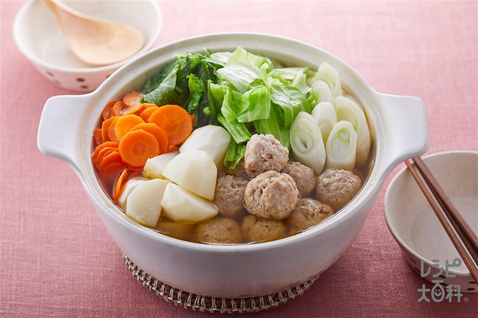 野菜だしで食べる1日分の野菜鍋(キャベツ+鶏ひき肉を使ったレシピ)