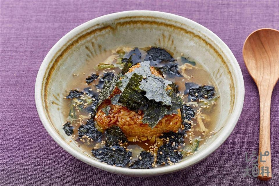 ドンっと海苔!スープかけ焼きおにぎり(焼きおにぎり(冷凍)+いり白ごまを使ったレシピ)