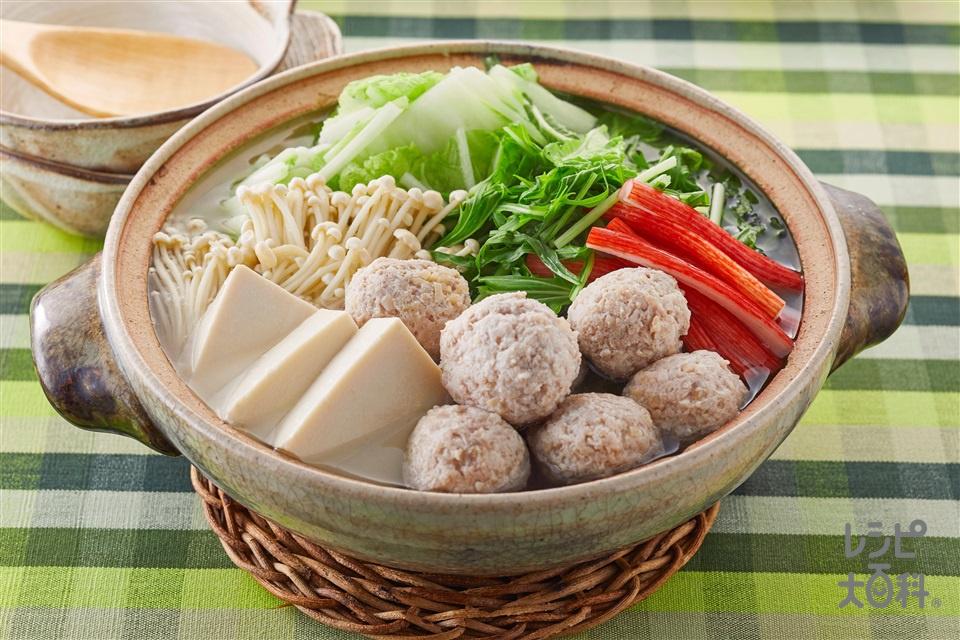 帆立だしの鶏団子鍋(鶏ひき肉+白菜を使ったレシピ)