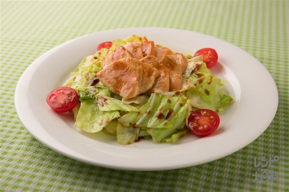 キャベツとチキンの簡単レンジ蒸し(キャベツ+鶏むね肉(皮なし)を使ったレシピ)