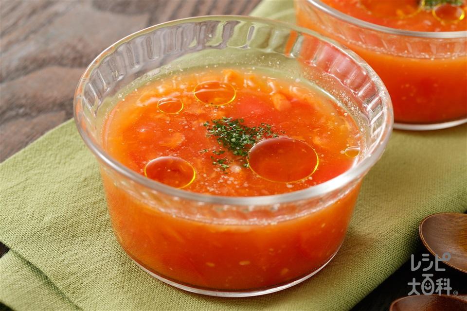 とまと全開!まるごととまとスープ(トマト+にんにくのすりおろしを使ったレシピ)