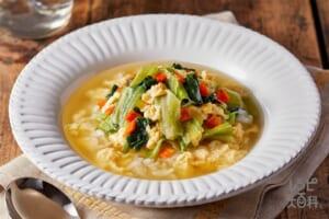たっぷり野菜とたまごのスープごはん