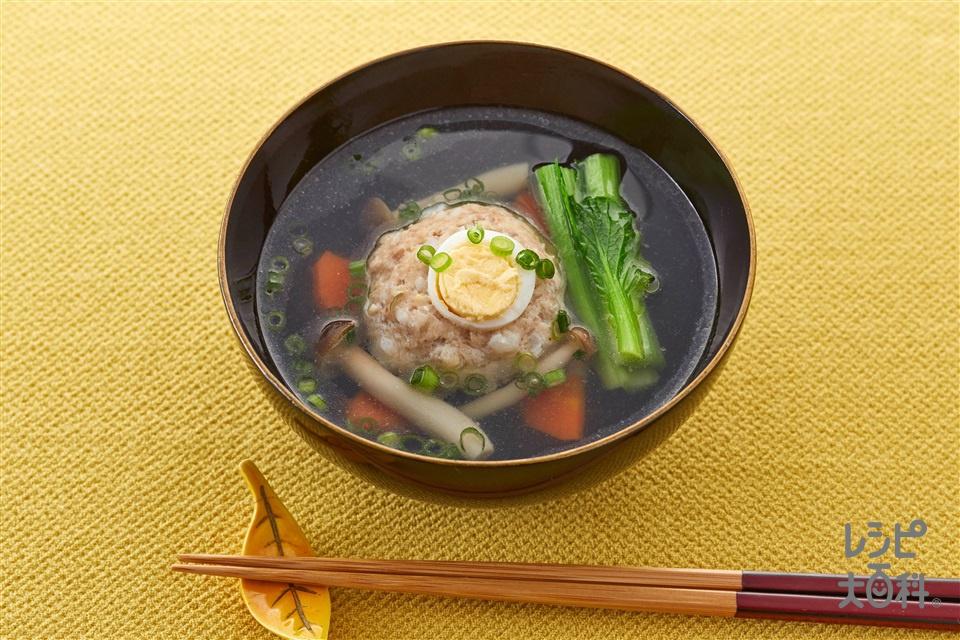 お月見椀(鶏ひき肉+小松菜を使ったレシピ)
