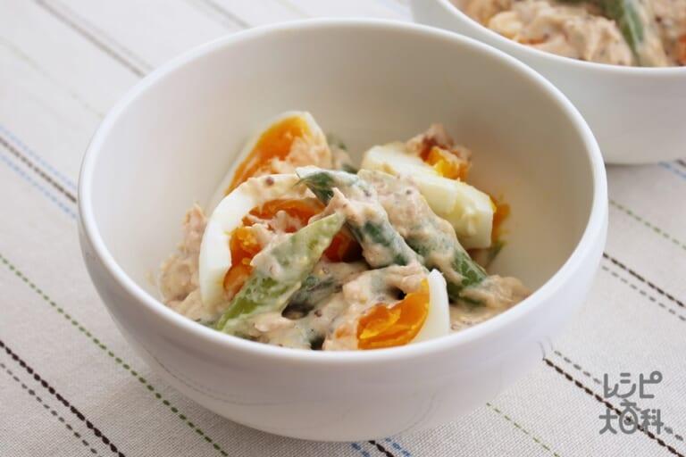 アスパラとゆで卵のツナマヨサラダ