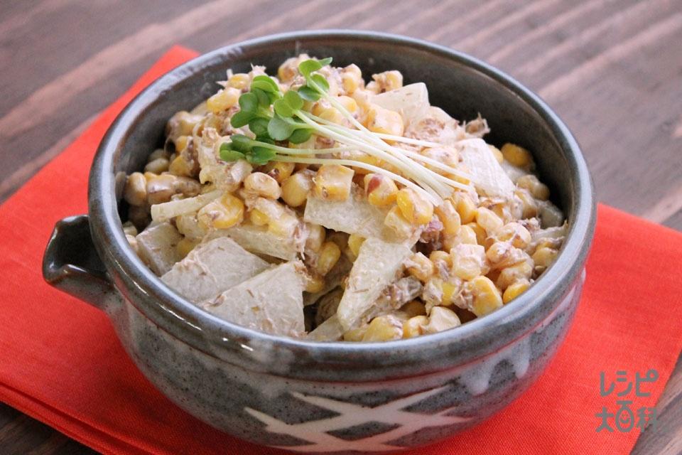 とうがんと鰹節のマヨ和えサラダ(とうがん+ホールコーン缶を使ったレシピ)