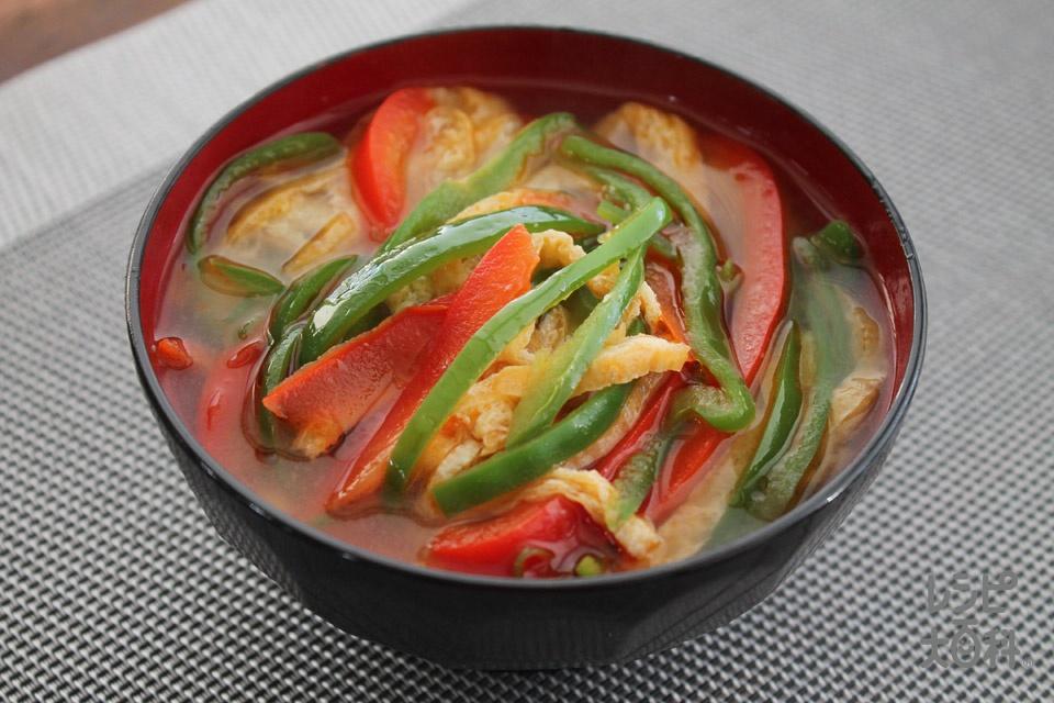 炒めピーマンと油あげのみそ汁(ピーマン+パプリカ(赤)を使ったレシピ)