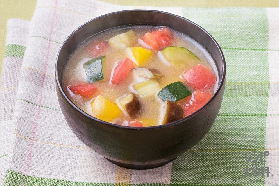 ラタトゥイユ風みそ汁(なす+ズッキーニを使ったレシピ)