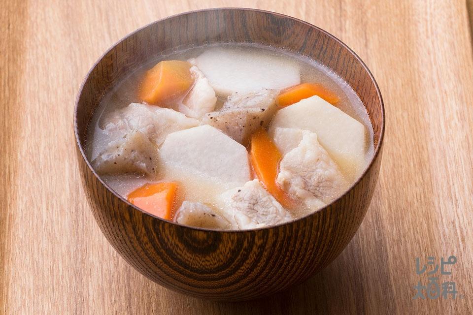 里いもと豚バラのみそ汁(豚バラ薄切り肉+里いもを使ったレシピ)