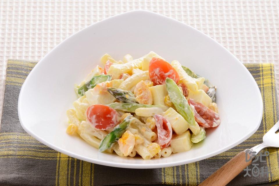 夏野菜とチーズのハニーマカロニサラダ(マカロニ+ミニトマトを使ったレシピ)