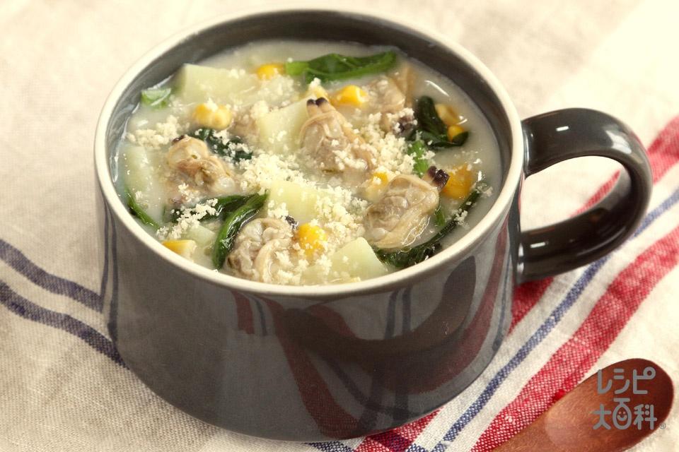 簡単!クラムチャウダー風スープ(じゃがいも+ほうれん草を使ったレシピ)