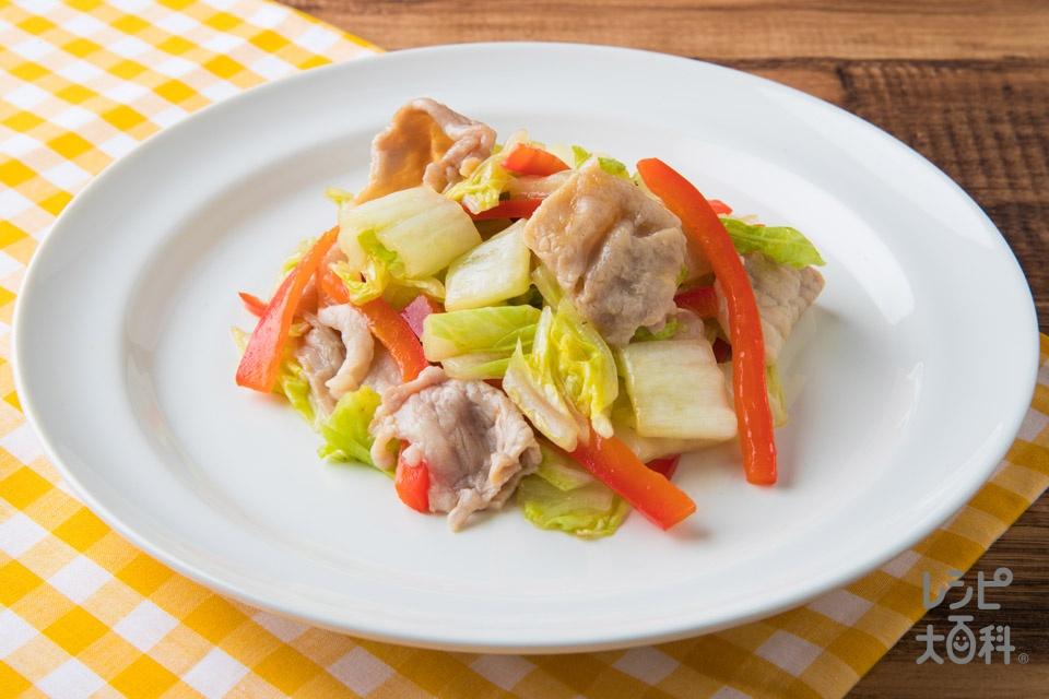 Wだし!パプリカのレンチンあえ(豚こま切れ肉+白菜を使ったレシピ)