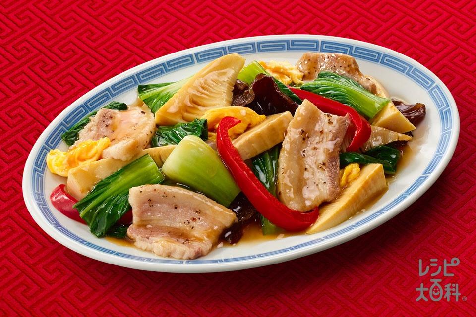 豚肉と彩り野菜の中華炒め(豚バラ薄切り肉+チンゲン菜を使ったレシピ)
