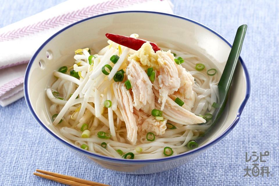 糖質0g麺の生姜香るアジアンチキンヌードル風(もやし+しょうがのすりおろしを使ったレシピ)
