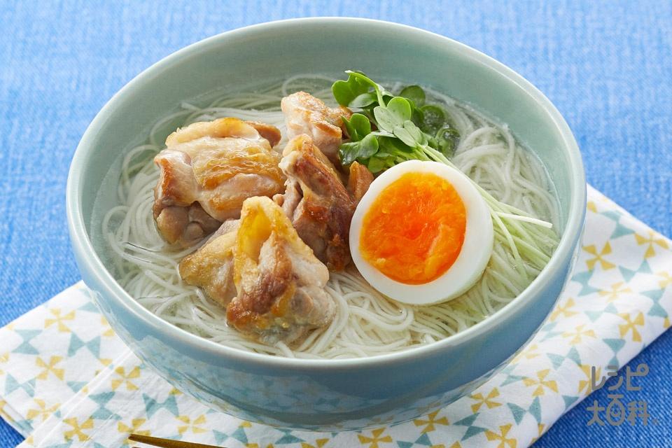 丸鶏親子そうめん(そうめん+鶏もも肉を使ったレシピ)