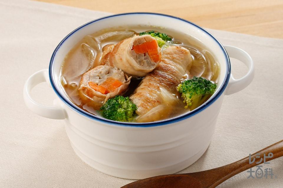 ゴボウまきまき満腹スープ(豚バラ薄切り肉+ごぼうを使ったレシピ)
