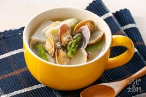 アスパラとアサリのほっこりスープ