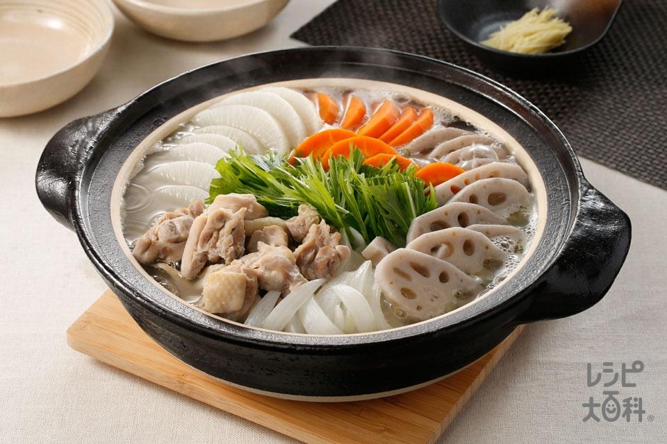 鶏だししみしみ根菜鍋(鶏もも肉+大根を使ったレシピ)