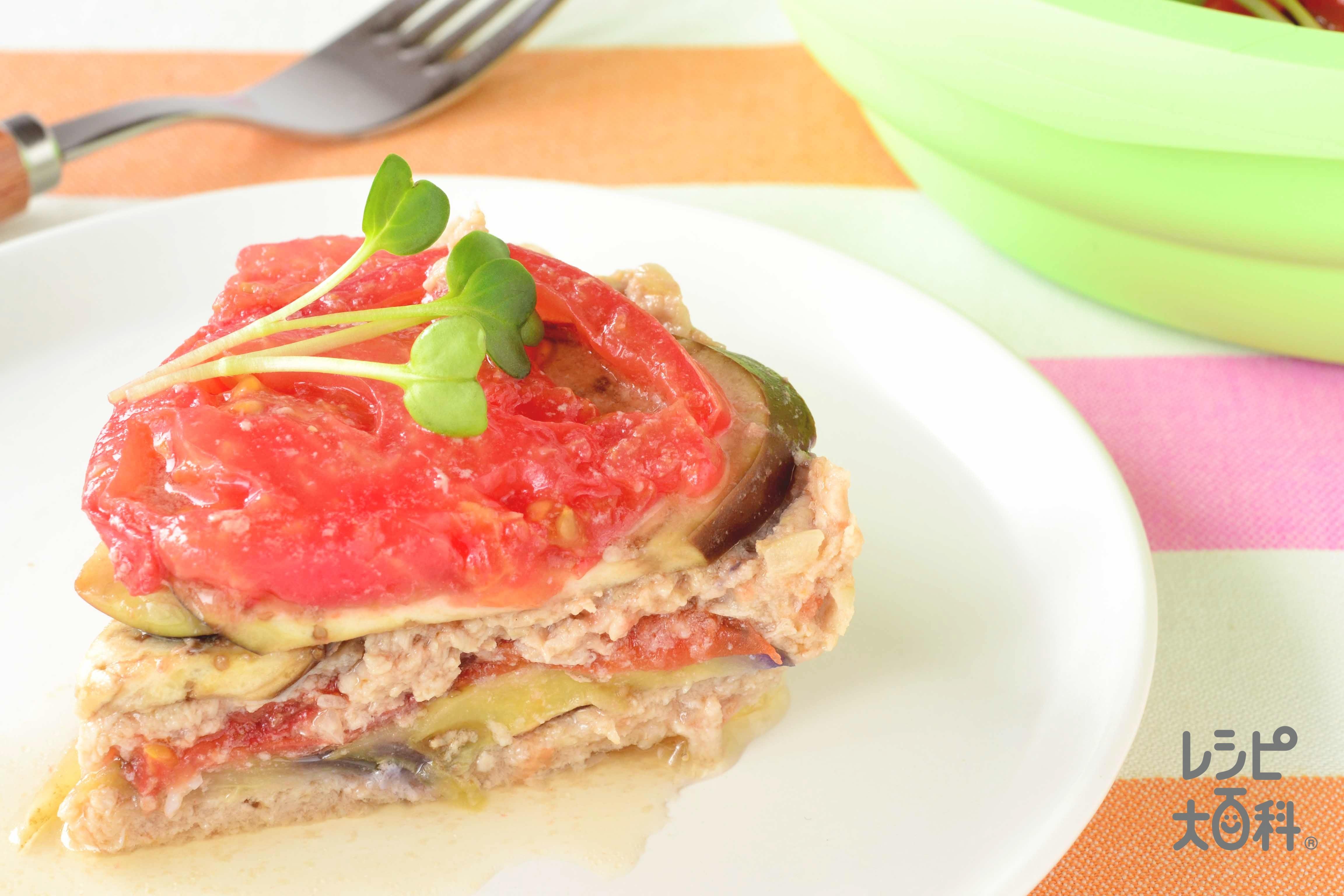 シリコンスチーマーで豚ひき肉と夏野菜のはさみ蒸